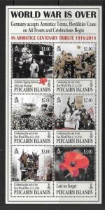 PITCAIRN ISLANDS 2018 END OF WORLD WAR ONE M/S MNH