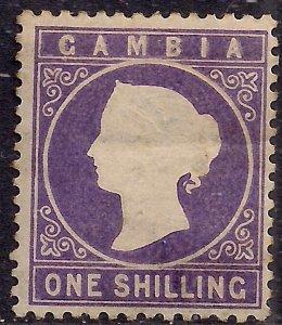 Gambia 1886 - 93 QV 1/-d Violet MM SG 35 ( D1416 )