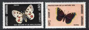 French Andorra 1976 Butterfly set Sc# 251-52 NH