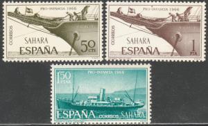 SPANISH SAHARA 166-168, CHILD WELFARE 1966, SHIPS MNH VF. (71)