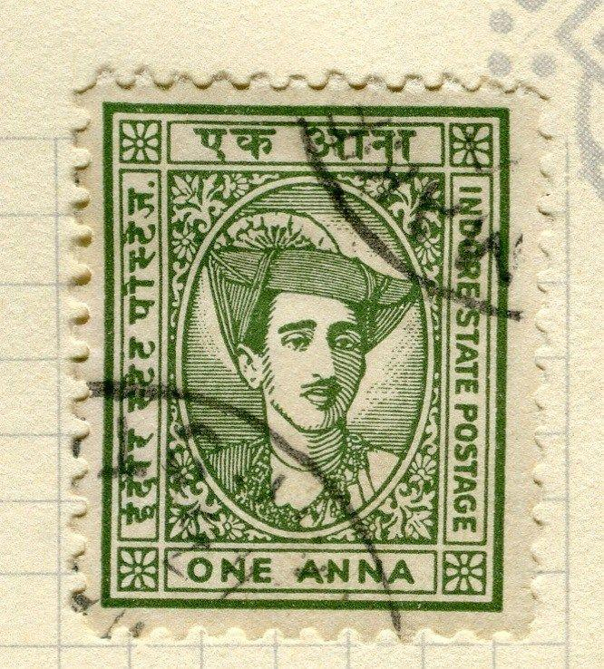 INDIA;   INDORE 1940 early Holkar II issue fine used 1a. value