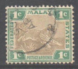 Malaya FMS Federated States Scott 18 - SG15b, 1900 Tiger 1c used