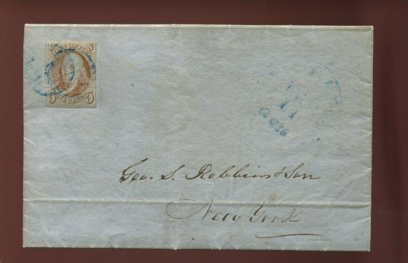 Scott 1d Franklin Imperf Used Stamp on 1851 Cover with PF Cert (Stock 1-226)