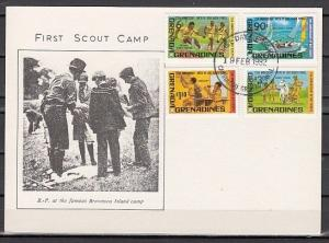 Grenada, Gr., Scott cat. 475-478. 75th Scout Anniversary. First day card, #3.