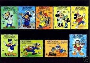 GRENADA - 1979 - DISNEY - IYC - MICKEY - MINNIE - DONALD - GOOFY - 9 X MINT SET!