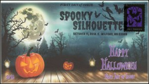 19-261, 2019, Spooky Silhouettes, Pictorial Postmark, First Day Cover, Purple