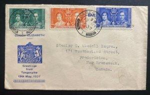 1937 Daressalaam Tanganyika first day cover Coronation King George VI To Canada
