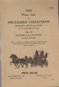 Billig: Sale # Net Price  -  1965 Price List of Specializ...