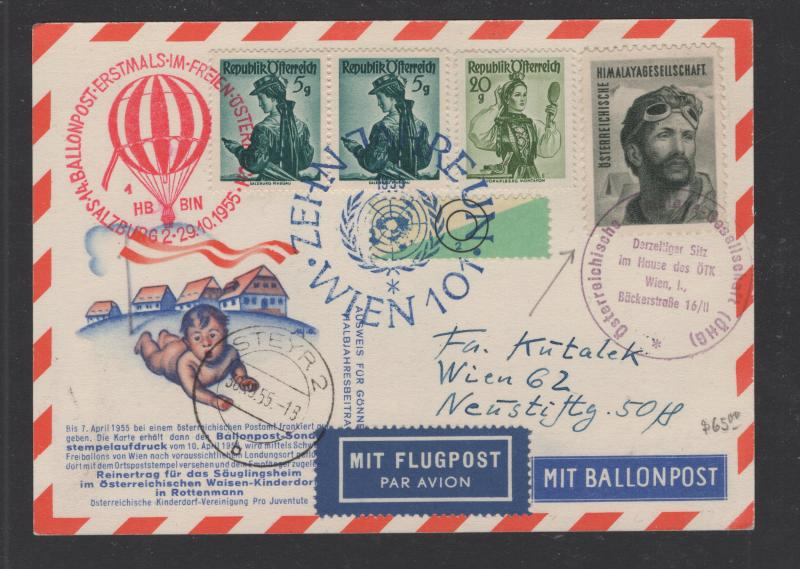 Austria 1955 BALLONPOST Postcard with Himalayagesellschaft Poster Stamp Rare VF