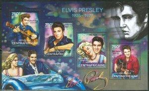Central Africa MNH S/S Elvis Presley 2014 4 Stamps