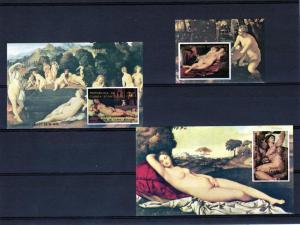 Equatorial Guinea 1976 Titian/Rubens/Michelangelo 3SS A/217C217 MNH VF
