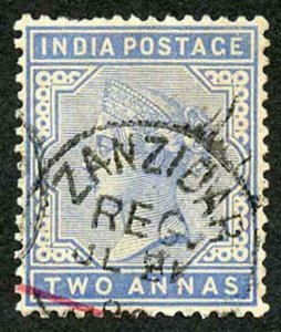 Zanzibar SGZ85 1882-90 India 2a Blue 31 July with CDS (type Z6) Used