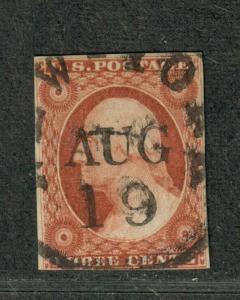 US Sc#10a Used/F-VF, Pos 100R1e, Cv. $140