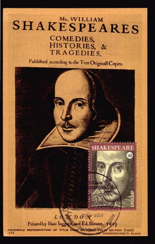 URUGUAY WILLIAM SHAKESPEARE MAXI CARD LITERATURE THEATRE WRITTER FEATHER PEN