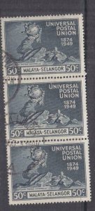 SELANGOR, MALAYA, 1949 UPU 50c. Blue Black, vertical strip of 3, used.