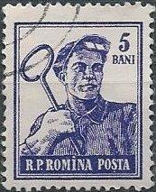 Romania 1025 (used) 5b steelworker, vio (1955)
