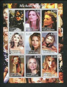 Tajikistan Commemorative Souvenir Stamp Sheet - Actress Michelle Pfieffer