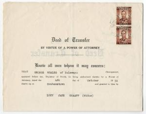 (I.B) Southern Rhodesia Revenue : Duty Stamp £4 (Deed of Transfer)