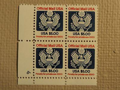 USPS Scott O133 $5 Official Mail USA 1983 Mint NH Plate B...