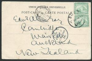 EGYPT 1904 postcard with 2m(2) used Suez to New Zealand....................41156