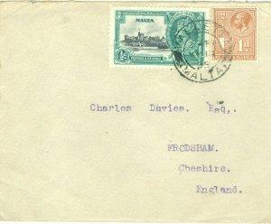 1c Gems Malta cover to England c1935