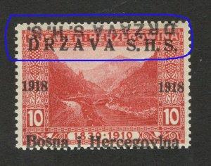 BOSNIA - SHS -MNH STAMP, 10 h - ERROR -TETE BECHE OVERPEINT DRŽAVA S.H.S.-1918