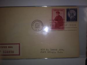 SCOTT # FA1 SINGLE CERTIFIED MAIL FIRST DAY OF ISSUE !! 1955 GREAT FIND !!