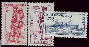 St. Pierre & Miquelon Sc B8A, B & C Mint VF SCV$11.50...French Colonies are Hot!