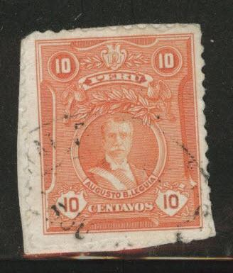 Peru  Scott 245 used on piece 1924 stamp 18.5x23mm
