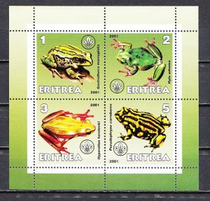 Eritrea, 2001 Cinderella issue. Frogs on a sheet of 4. ^