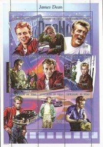 Chad 1999 American Actor James Dean 9 Stamp Sheet Scott #793