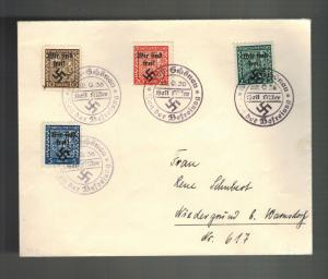 1938 Rumburg Germany Sudetenland Provisional Cover Overprint Stamps Mi 1-4