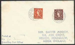 GB 1957 cover GREAT WESTER TPO DOWN railway cancel.........................53354
