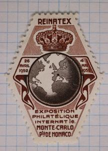 1952 REINATEX Monaco Monte Carlo world Philatelic Exhibition Poster Stamp globe