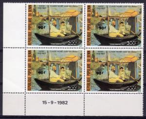 Benin 1984 Sc#C326  Claude Monet/Manet Famous Ptgs Block of 4 MNH