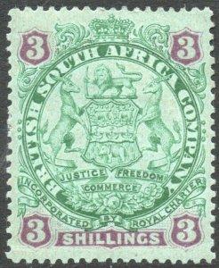 RHODESIA-1896-97 3/- Green & Mauve/Blue Sg 36 AVERAGE MOUNTED MINT V37873
