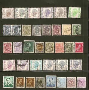 Belgium Collection of 35 Different Older Stamps Used