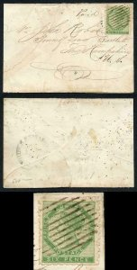 PRINCE EDWARD Is SG4 1861 6d yellow-green perf 9 on cover RARE Cat 3000 pounds