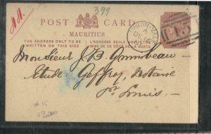 MAURITIUS (P3005B) 1881 QV 2C PSC UNION-VALE #15 SENT TO PORT LOUIS