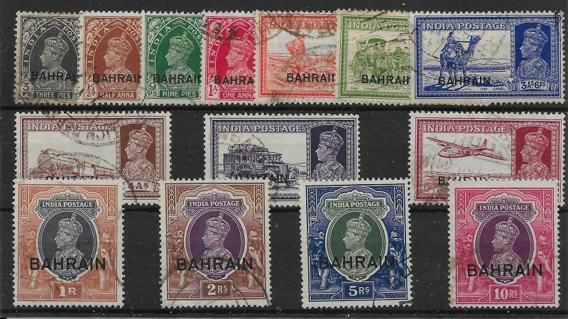 BAHRAIN SG20/35 1938-41 DEFINITIVE SET TO 10r USED
