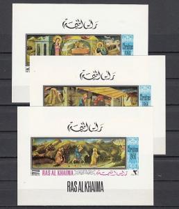 Ras Al Khaima, Mi cat. 273-275 C. Religious Christmas, Deluxe s/sheets.