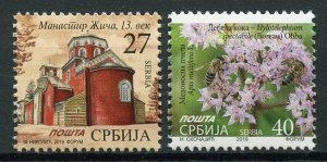 Serbia Definitives Stamps 2019 MNH Flowers Bees Architecture Buildings 2v Set