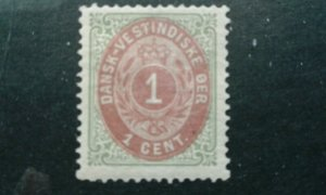 Danish West Indies #5 mint hinged inverted frame green and brown red e201.6242