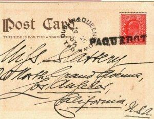 GB IRELAND RAILWAY *Dublin & Queenstown TPO* PAQUEBOT USA 1907{samwells}MAL160