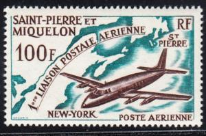 St. Pierre and Miquelon #C28 MNH CV$14.00 Jet New England Map [86039]