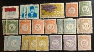 Indonesia Scott# 1084, E8, J63...J84 Used/Unused Group 24 F/VF to XF  Cat. $6.10