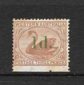 WESTERN AUSTRALIA  1885  1d  on 3d   SWAN   MH    SG 92