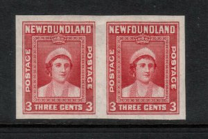 Newfoundland #255a Extra Fine Never Hinged Imperf Pair - Light Natural Gum Bend
