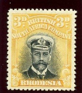 Rhodesia 1913 KGV Admiral 3d black & yellow MLH. SG 215. Sc 124a.