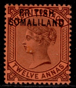 SOMALILAND PROTECTORATE QV SG9, 12a purple/red, LH MINT.